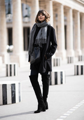 theedit,blogger,sweater,shoes,coat,jeans,black coat,over the knee boots,high heels boots,fall outfits