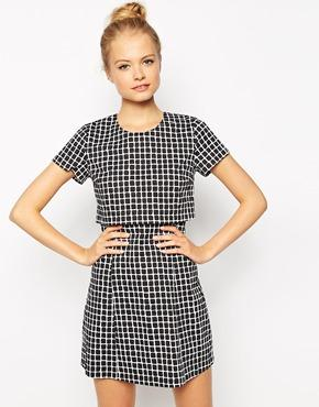 Fashion union layered dress in check print at asos