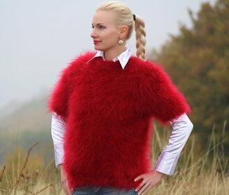 blouse hand knit made crewneck supertanya sweater jumper soft fluffy angora mohair alpaca wool cashmere