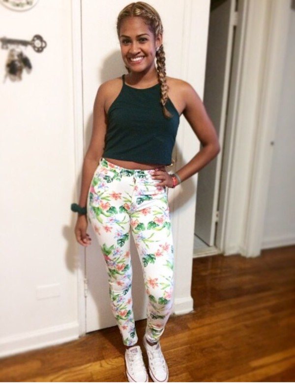 green halter neck sleeveless floral pants high waisted jeans forest green jeans printed pants