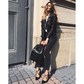 bag tumblr black leather jacket leather jacket black jacket jacket top white top backpack black backpack denim jeans black jeans pumps