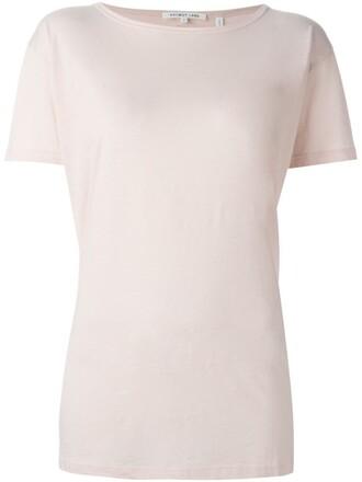 t-shirt shirt back open open back purple pink top