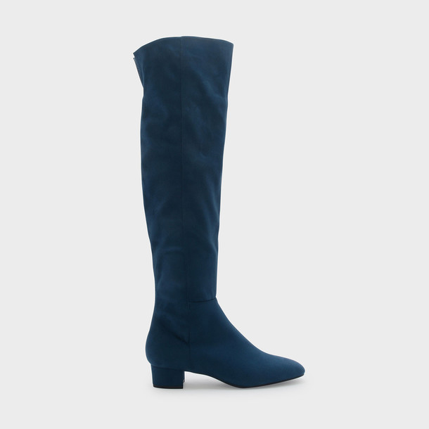 high thigh high boots blue shoes