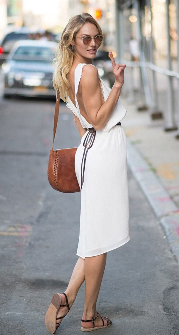 dress white dress fashion week 2014 streetstyle candice swanepoel