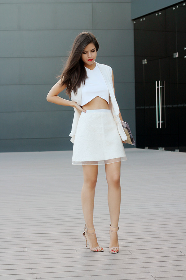 Topshop white quilted aline skirt | Beso