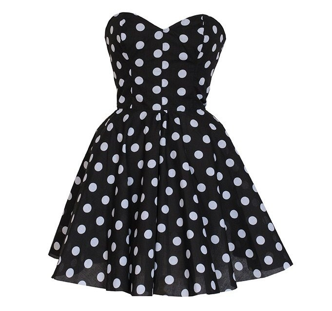 Pin-Up Black Polka Dot Prom Party Dress | Style Icon`s Closet