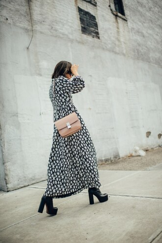 dress maxi dress long dress stars long sleeves long sleeve dress boots black boots high heels boots bag nude bag blogger saint laurent
