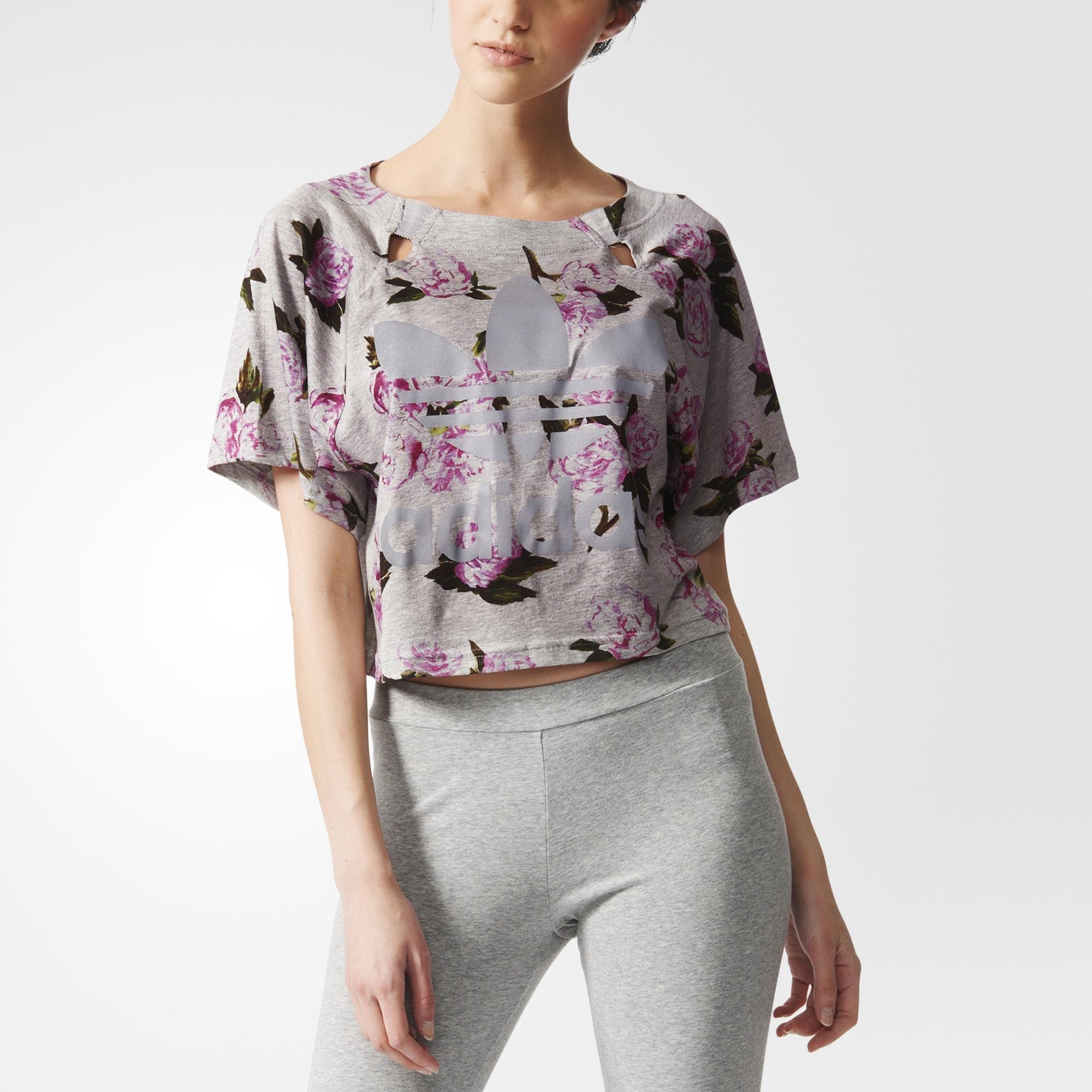 33ad7199c4c989 adidas Women s Jeremy Scott Floral Crop Top - Grey