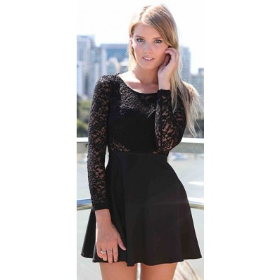 Black lace dress ladies couture autumn new style
