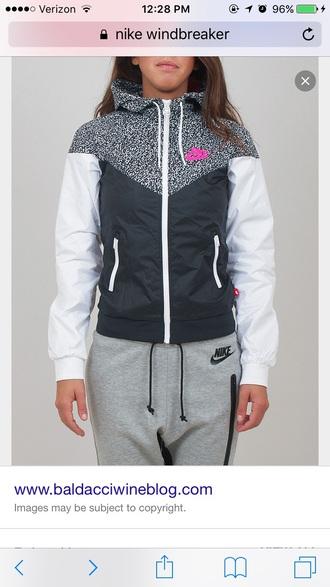 jacket nike black white pink