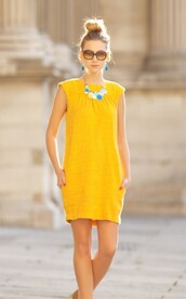 dress,yellow dress,mustard dress,sleeveless dress,mustard,summer dress,summer outfits,sunglasses,necklace,short dress,mini dress