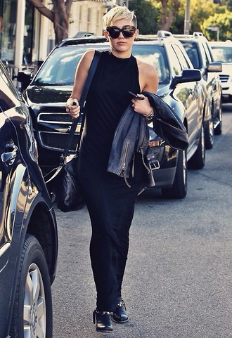 dress miley cyrus maxi dress black streetstyle leather jacket