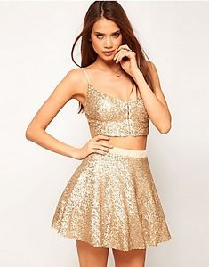 sequin skater skirt by tfnc at topshop | eBay