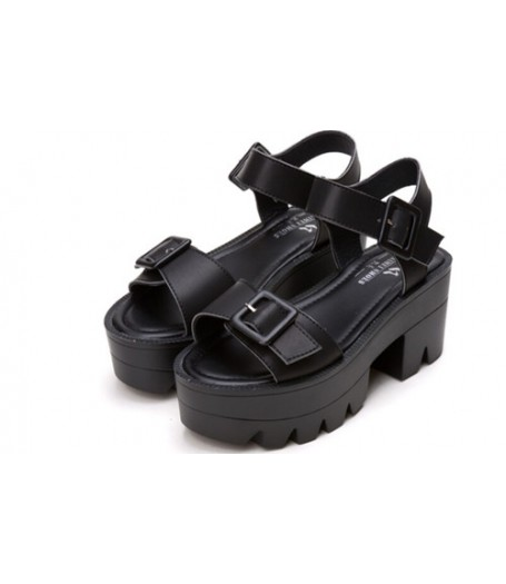 Black Chunky Strappy Platform Buckle Sandals