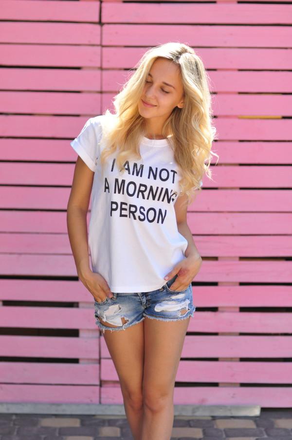 t-shirt 2016 street fashion women t shirts summer summer top jeans shorts wild i am not a morning person hipster punk o neck shirt casual t-shirts white top fashion funny t-shirt