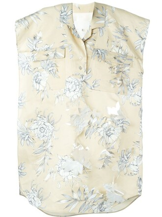blouse floral nude top