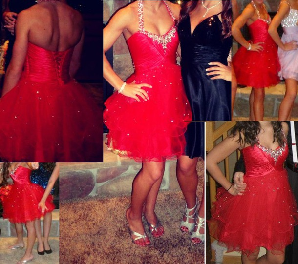 dress red dress prom dress prom homecoming short tulle dress tulle skirt halter dress homecoming dress red