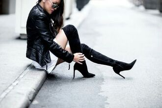 shoes tumblr black boots high heels boots over the knee boots leather jacket black leather jacket black jacket jacket
