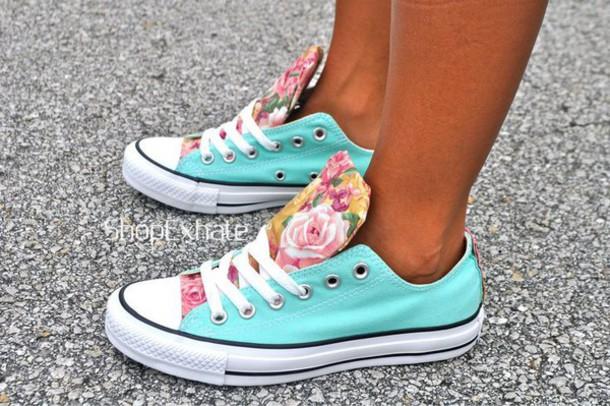 shoes summer floral tan teal pink dress