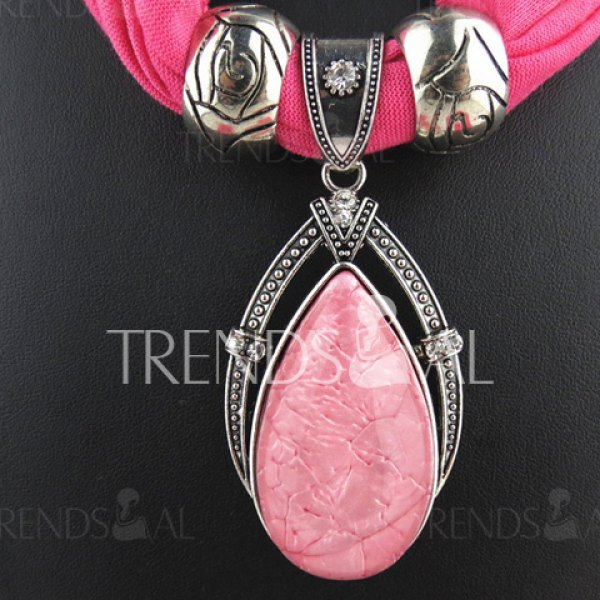 Chic Water Drop Shape Pendant Embellished Jewelry Scarf For Women