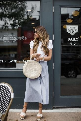 bag round bag round tote skirt midi skirt blue skirt top white top