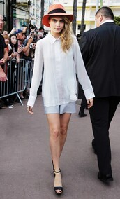 shorts,cara delevingne,blouse,hat,shirt