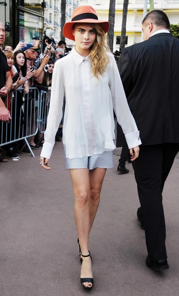 shorts cara delevingne blouse hat shirt