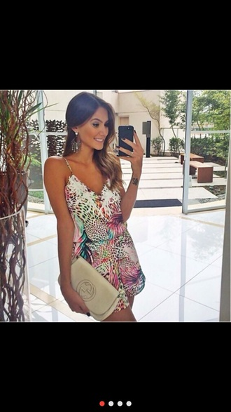jumpsuit colorful animal print play suit blogger summer