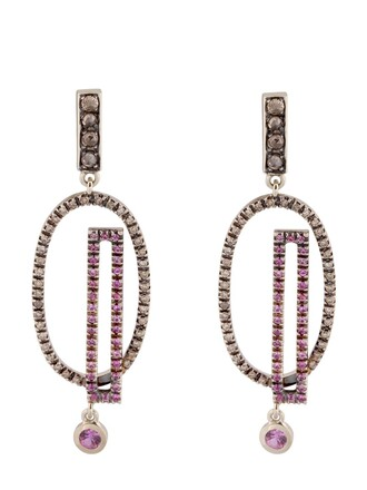 earrings gold earrings gold white pink orange jewels