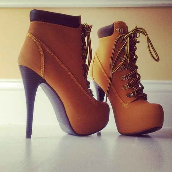 high heels boots tan timberland shoes high heels camel boots timberland style heels timberland heels gold tan lace up booties lace up heels lace up ankle boots boots high heels timberlands beautiful high booties style timberland shorts girly awesome shoes brown timberlands want this