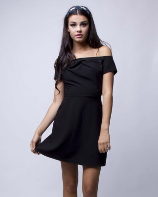 LOVE Black Pleated Cold Shoulder Dress - In Love With Fashion