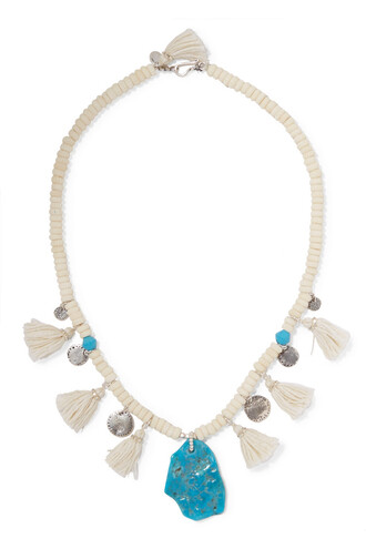 beaded necklace silver turquoise jewels
