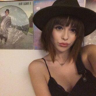 hat grunge bralet overalls girl black bowler hat acacia brinley black bowler hat