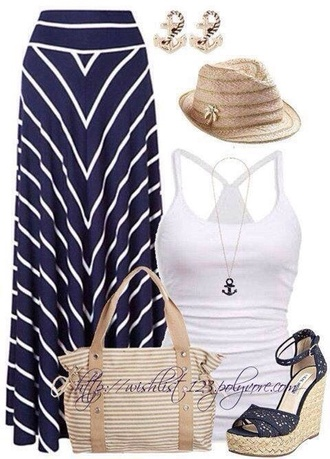 tank top white blue blue and white skirt maxi skirt shirt top bottoms heels wedges cute summer dress summer outfits spring hat country