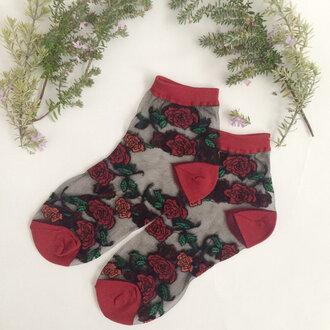 socks cute socks roses red romantic flowers