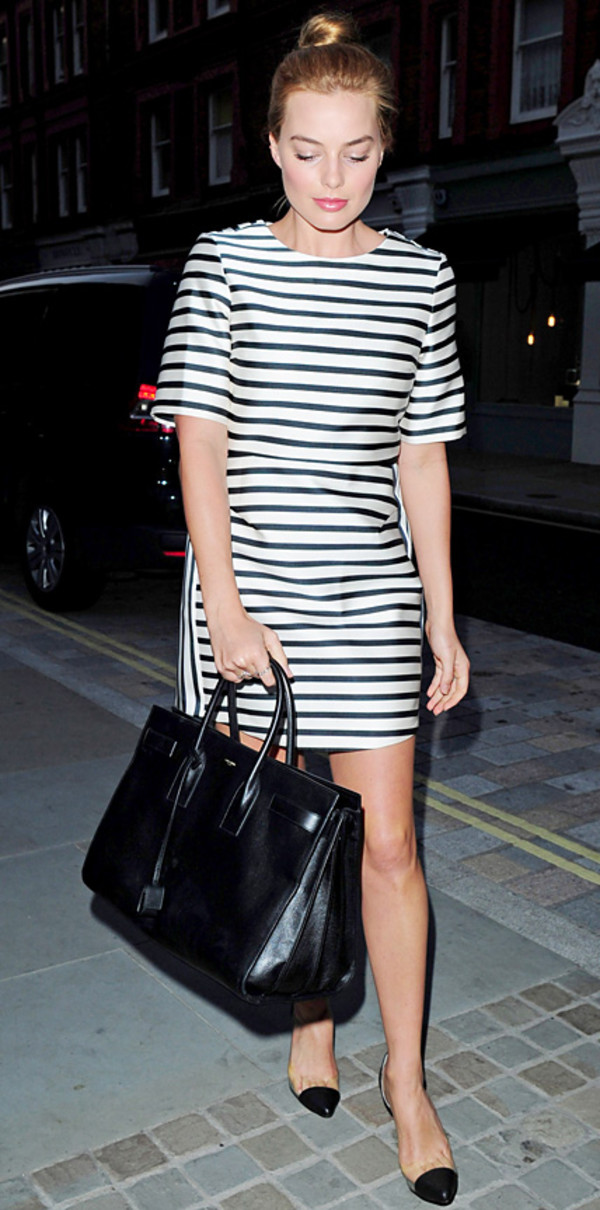 dress margot robbie bag stripes striped dress maxi bag