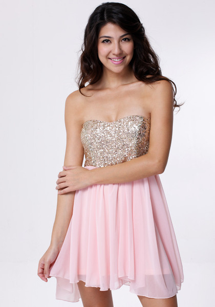 Baby pink sequins bodice