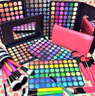 make-up eye shadow multicolor eye makeup pallets makeup palette makeup brushes