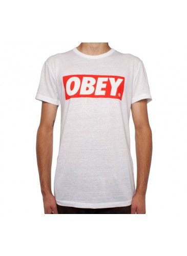 Obey Bar Logo Tri-Blend T-Shirt (Natural/White) - Consortium.