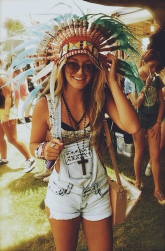 shorts denim overalls coachella tumblr bralette summer sunglasses bag top jewels