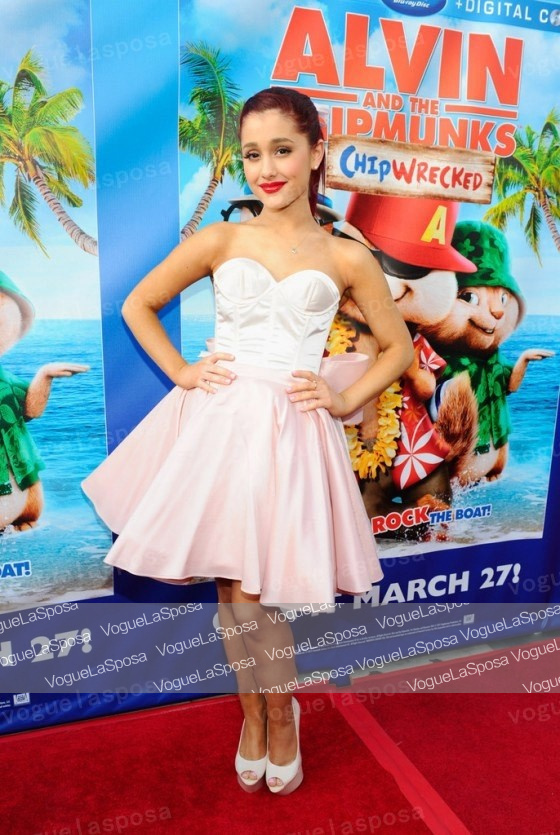 Ariana grande short dress alvin and the chipmunks dvd for Ariana grande wedding dress