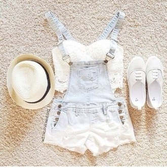 top girly ootd too crop denim lace bralette bandeau denim overalls