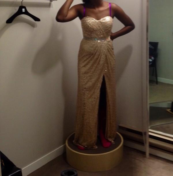 dress champagne prom 2014