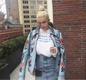 jacket,embroidered,blue jacket