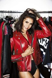 jacket,red,red jacket,nina dobrev,editorial,biker jacket