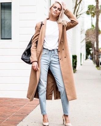 coat camel coat long coat t-shirt white t-shirt jeans blue jeans bag heels pointed toe pumps pumps