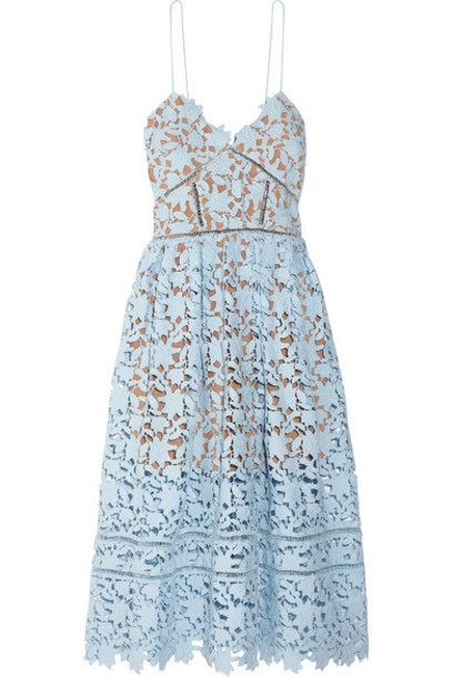 self-portrait dress midi dress midi lace blue sky blue