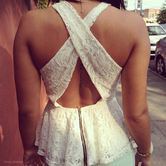 blouse crossed back lace spring summer outfits