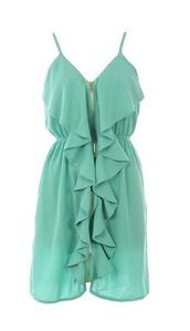 dress,ruffle,zip,sheer,teal