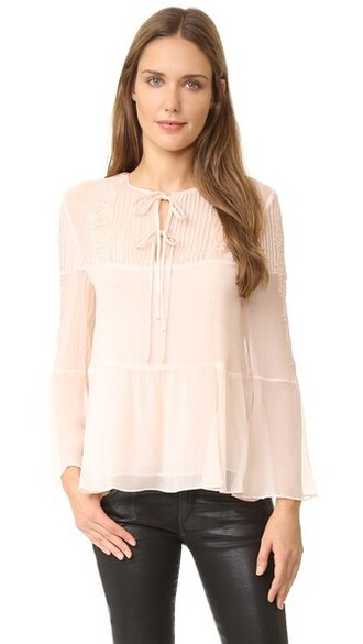 blouse long baby lace silk pink baby pink top